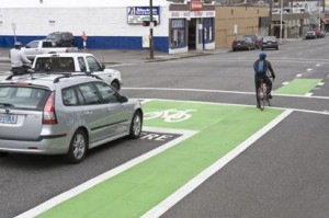 The bike box at SE Hawthorne and 7th in action. (Photo by Jay Lawrence/Polara Studios)